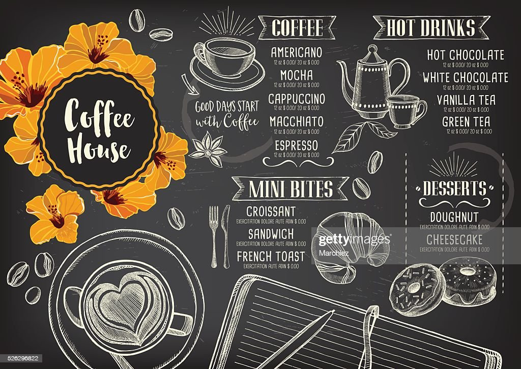 Coffee cafe menu, template design.