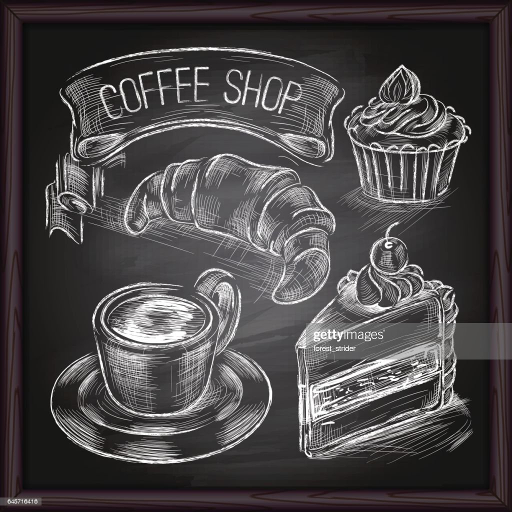 Coffee & Cafe set drawing on chalkboard : Stock Illustration