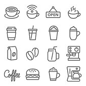Coffee Cafe Vector Line Icon Set. Contains such Icons as Hot Coffee, ฺBeans, Coffee Machine, Hamburger and more. Expanded Stroke
