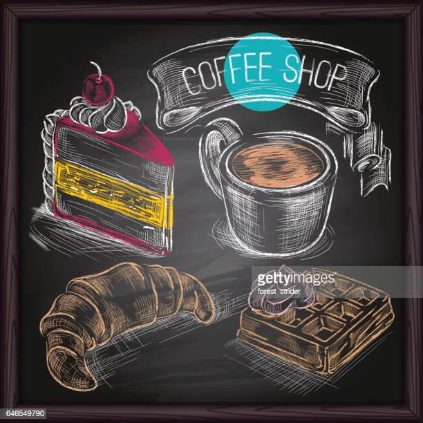 黒板に描くコーヒー ・ ケーキ