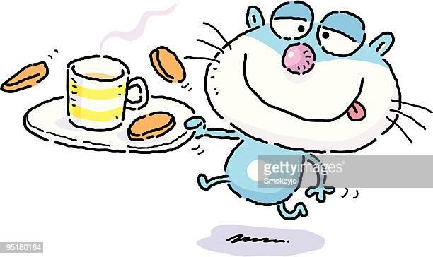 ilustrações, clipart, desenhos animados e ícones de gato de café - café bebida