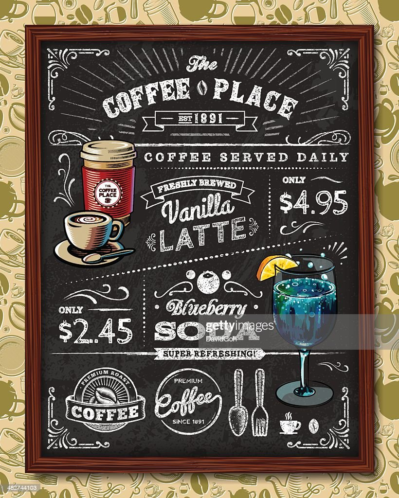 Coffee lettering in cup, grinder, pot chalk shapes. Modern ...  |Coffee Chalk Art
