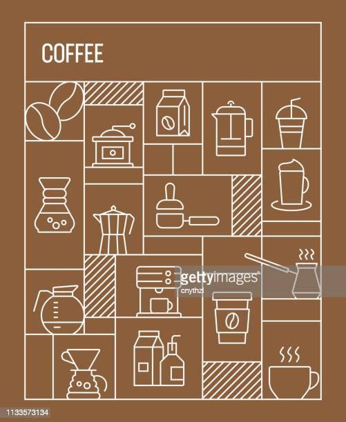 コーヒーのコンセプト。コーヒーラインアイコンと幾何学的なレトロスタイルのバナーとポスターコンセプト - ロースト点のイラスト素材/クリップアート素材/マンガ素材/アイコン素材