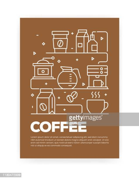 coffee concept line style cover design for annual report, flyer, brochure. - hot drink stock illustrations, clip art, cartoons, & icons