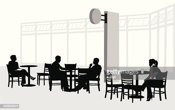 Coffee Court Vector Silhouette