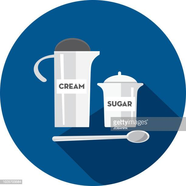 Coffee cream and sugar Flat Design themed Icon with shadow