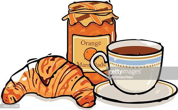coffee, croissant and marmalade - marmalade stock illustrations, clip art, cartoons, & icons