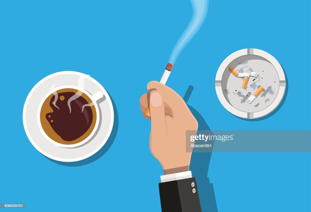 Coffee cup and ashtray full of smokes cigarettes.