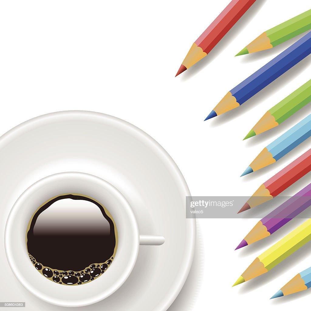 Taza de café y Lápices : Arte vectorial