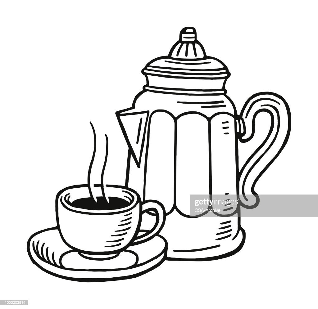 Coffee Cup Line Art Drawing High Res Vector Graphic Getty