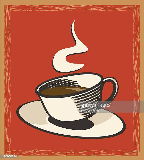 coffee cup and saucer vintage style sign - caffeine stock illustrations, clip art, cartoons, & icons