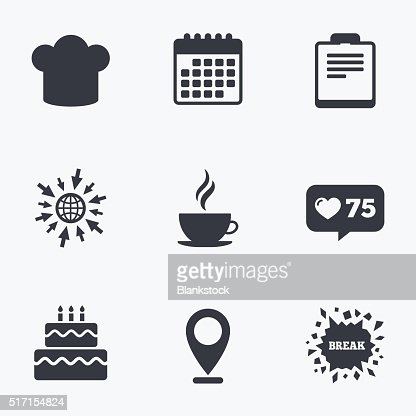 Coffee Cup Icon Chef Hat Symbol Birthday Cake Vectorkunst Getty Images