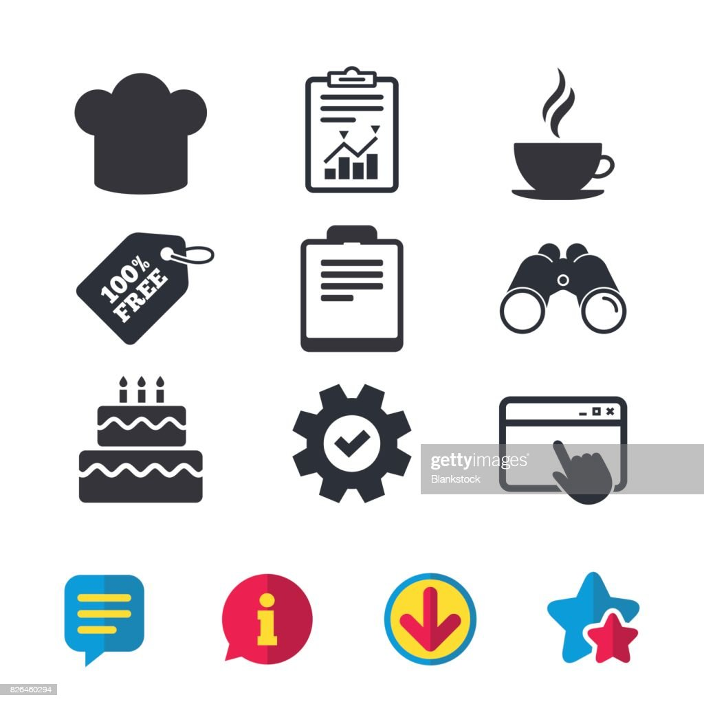 Coffee Cup Icon Chef Hat Symbol Birthday Cake Vector Art Getty Images
