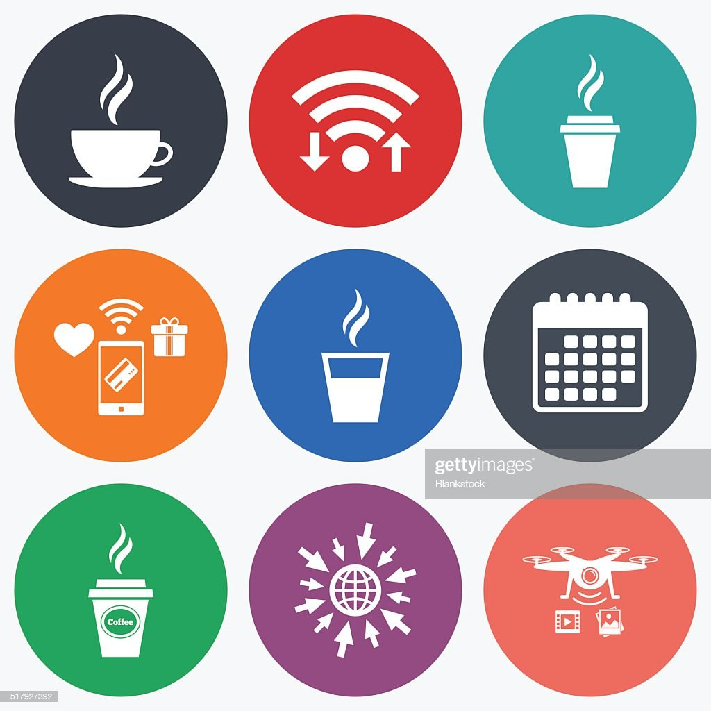 Coffee Cup Icon Hot Drinks Glasses Symbols Vector Art Getty Images
