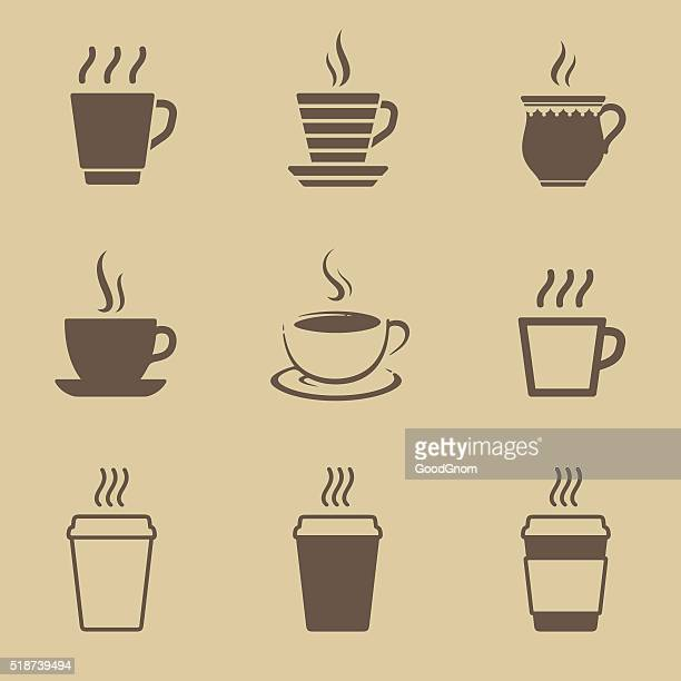 coffee cup icon set - temperature stock illustrations