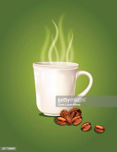 coffee cup on green - steeping stock illustrations, clip art, cartoons, & icons