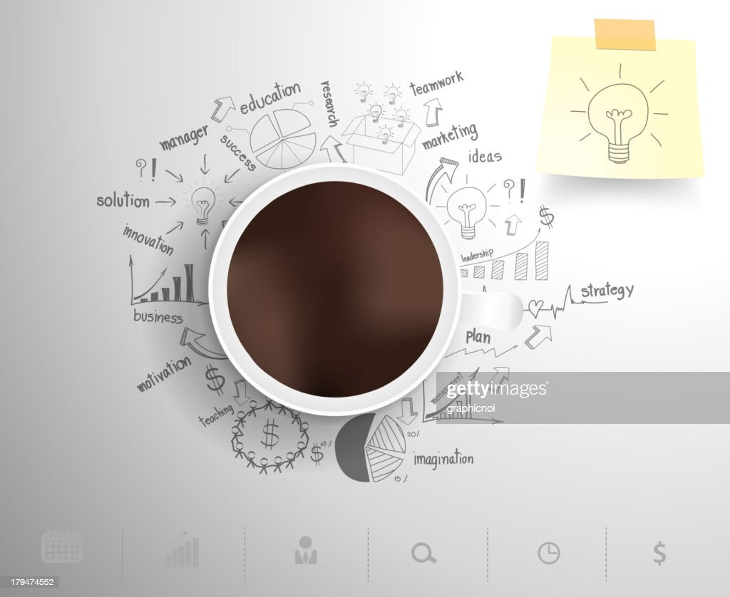 Coffee cup sitting on drawn business plan icons