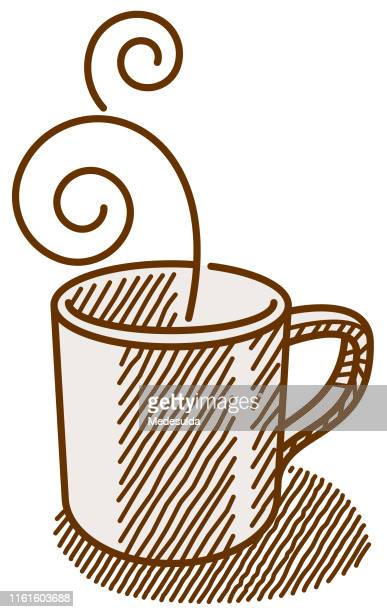 coffee cup sketch vector - coffee break stock illustrations, clip art, cartoons, & icons