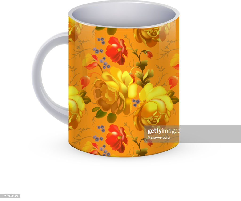 Coffee Cup Template Illustration With Flower Russian Traditional Pattern Vector Art
