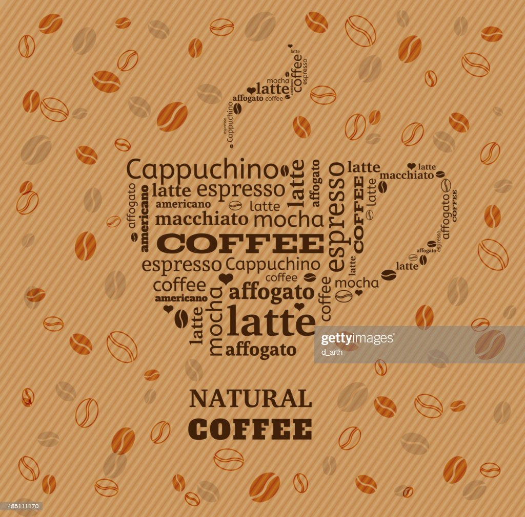 coffee cup typography from words on fabric background