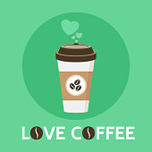 Coffee cup vector illustration. Love Coffee signe. Paper coffee cup in flat style. Isolated on green background