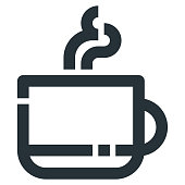 Coffee Cup Vector Line Icon 32x32 Pixel Perfect. Editable 2 Pixel Stroke Weight. Medical Health Icon for Website Mobile App Presentation