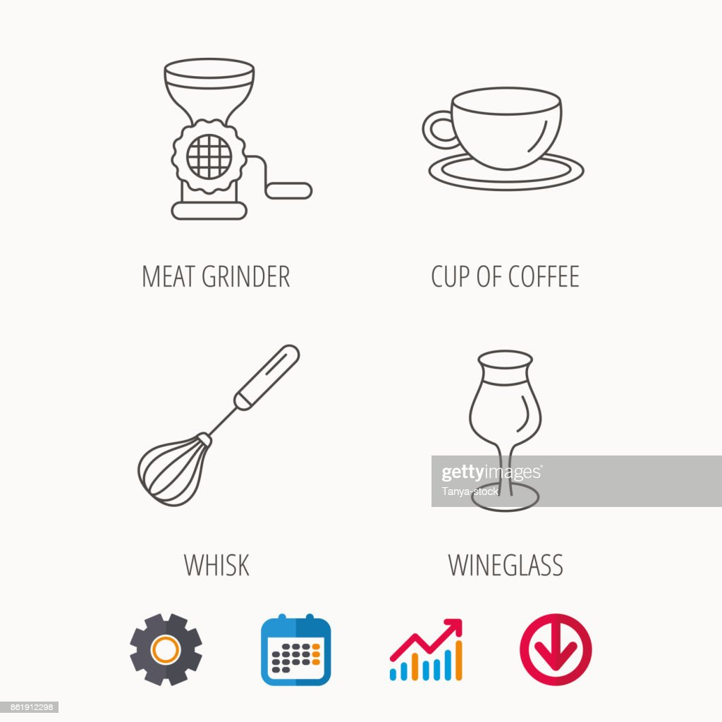Coffee cup, whisk and wineglass icons.