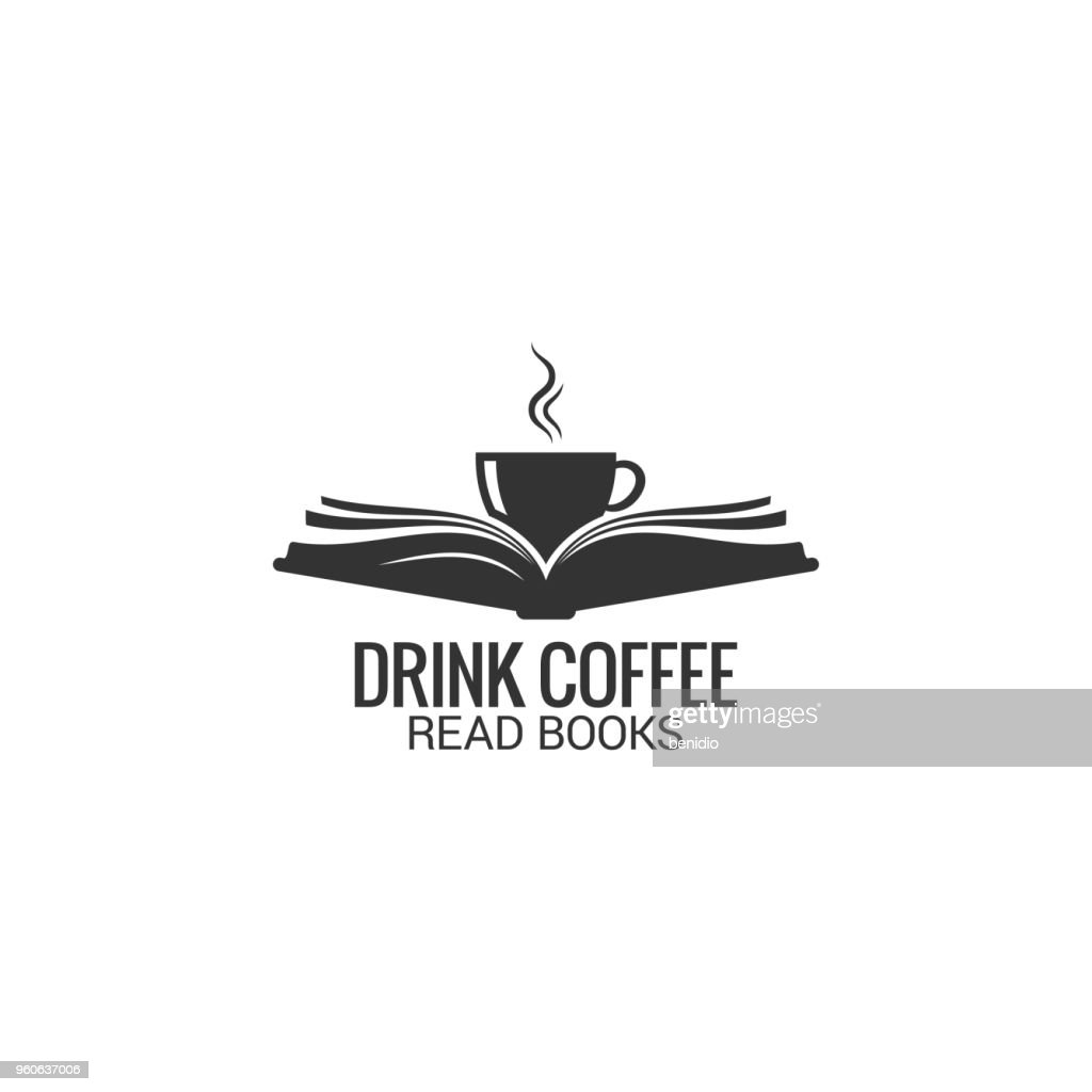 Coffee cup with book concept. Drink coffee read book on white background