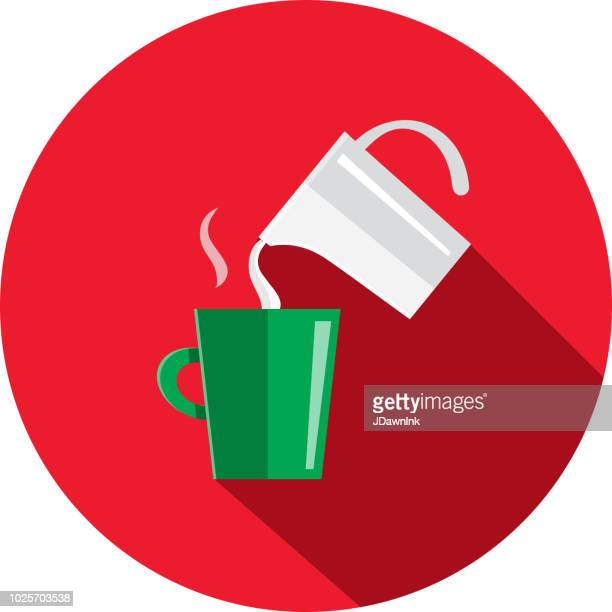 coffee cup with milk frothing pitcher flat design themed icon with shadow - jug stock illustrations, clip art, cartoons, & icons