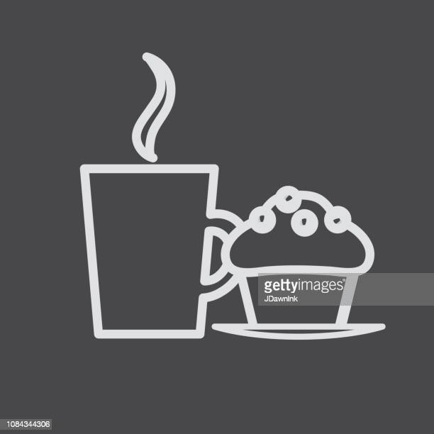 Coffee cup with muffin Flat line art outline Design Icon Set