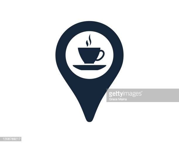 coffee cup with navigation location map pin icon vector illustration - locator map stock illustrations