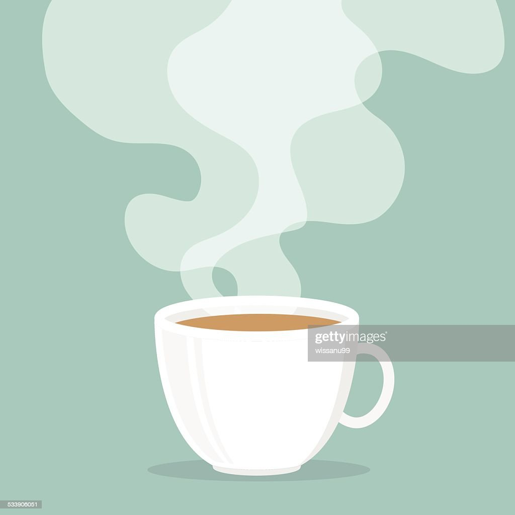 Coffee cup with smoke float up.