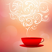 Coffee cup with steam ornament. Good morning concept