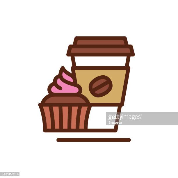 coffee & cupcake line icon - muffin stock illustrations, clip art, cartoons, & icons