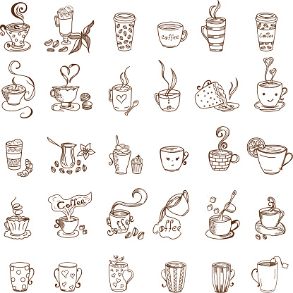 Coffee Cups and Tea Cups Doodles set - gettyimageskorea