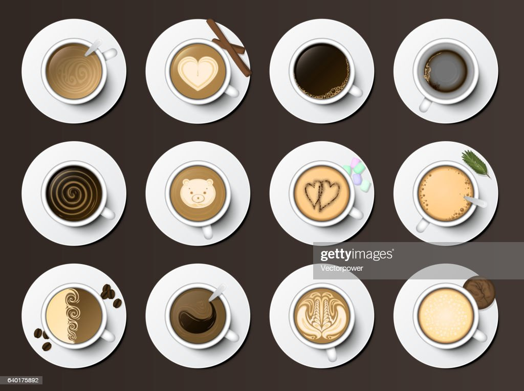 Coffee cups assortment top view collection vector illustration.