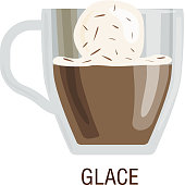 Coffee cups different cafe drinks glace