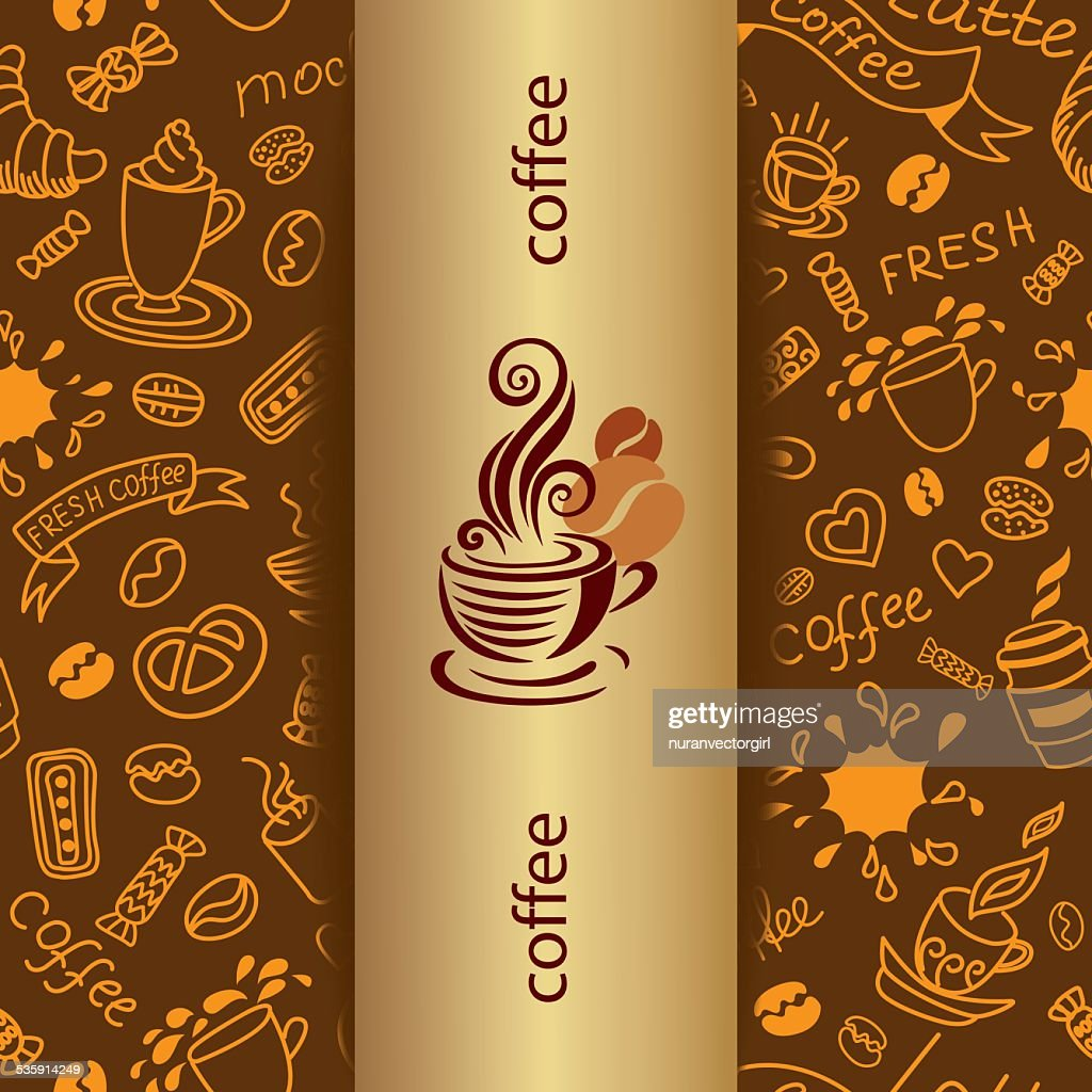 Coffee doodle background. Banner with bakery products. : Vector Art