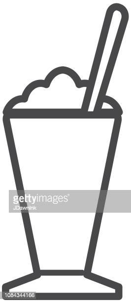 coffee drink flat line art outline design icon set - coffee drink stock illustrations