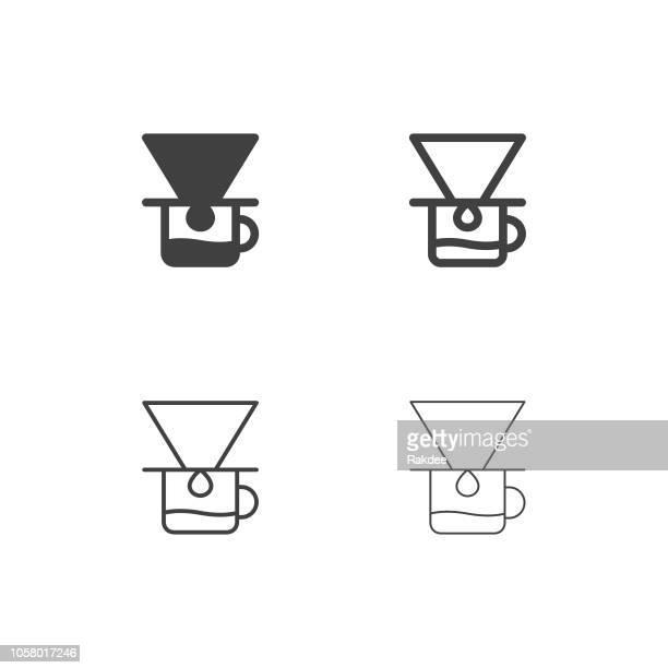 ilustraciones, imágenes clip art, dibujos animados e iconos de stock de iconos de café goteo - serie multi - filtración
