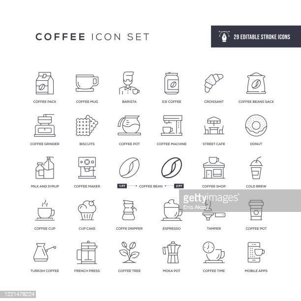 coffee editable stroke line icons - coffee drink stock illustrations