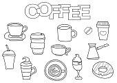 Coffee elements hand drawn set.