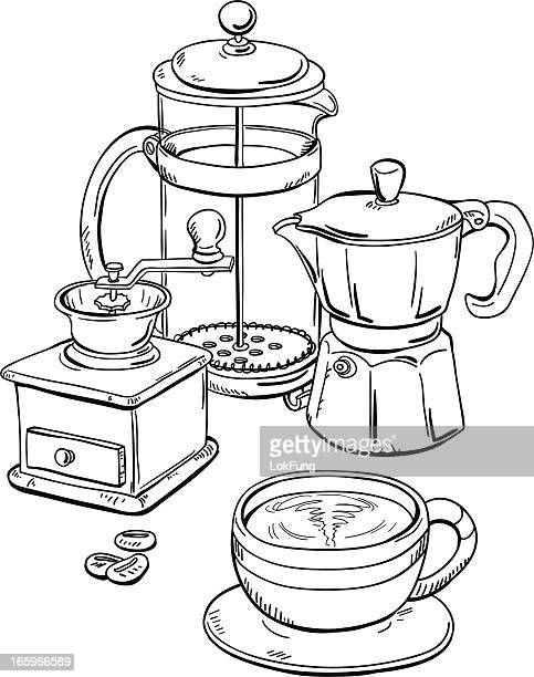 Coffee equipment in black and white