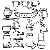 Coffee espresso hand drawn set.  Isolated. Vector illustration