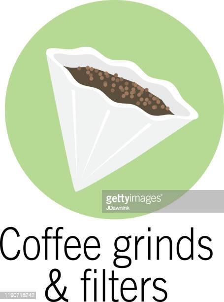 ilustraciones, imágenes clip art, dibujos animados e iconos de stock de filtro de café y moliendas icono del producto compostable - filtración