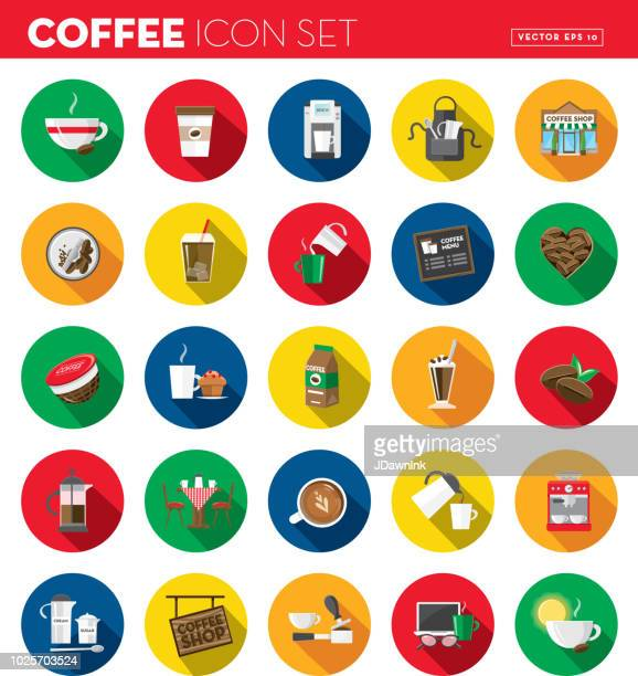 Coffee Flat Design themed Icon set with shadow