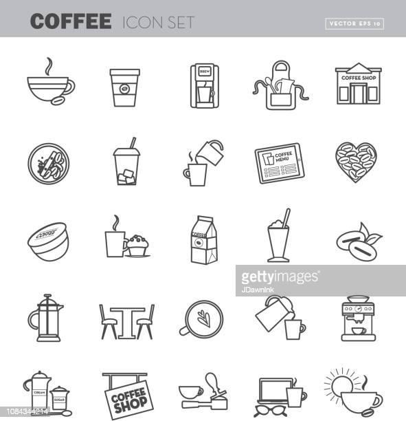 デザイン アイコン セット コーヒー フラット ライン アート概要 - エプロン点のイラスト素材/クリップアート素材/マンガ素材/アイコン素材
