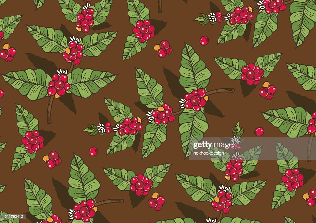 Coffee flowers and berries freehand drawing pattern