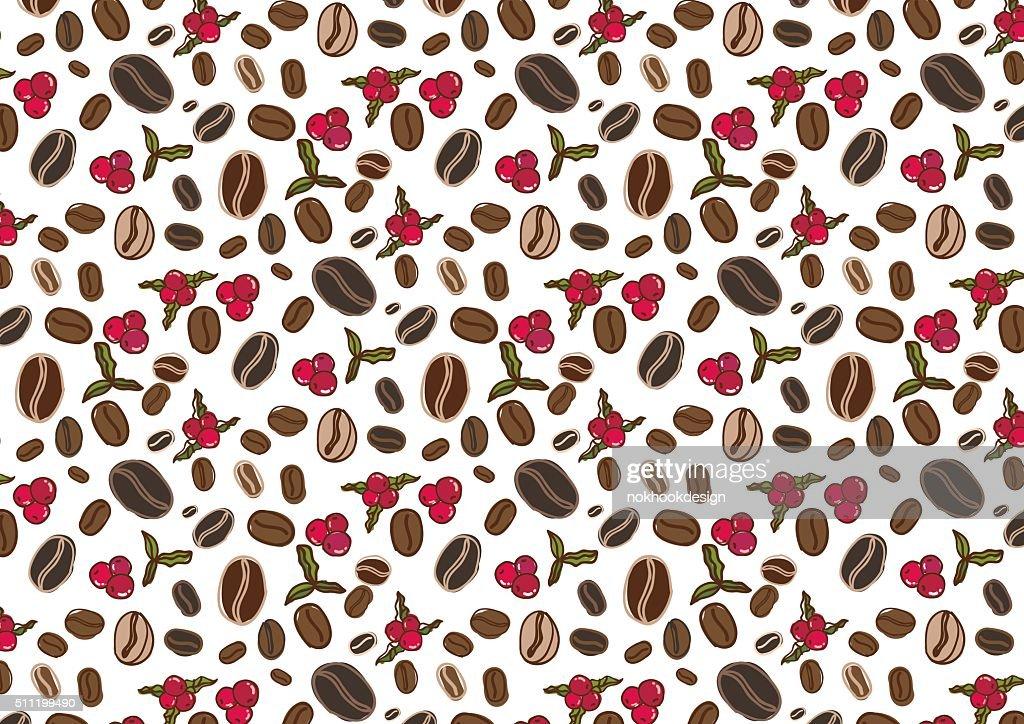 Coffee flowers and berries pattern