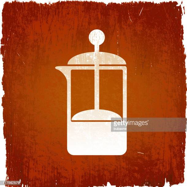 coffee french press on royalty free vector background - wood stain stock illustrations, clip art, cartoons, & icons